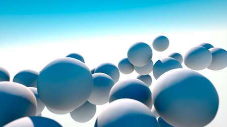 White spheres drifting in the sky