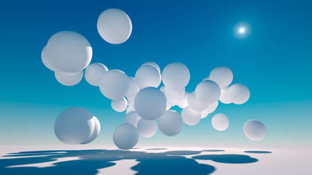 white spheres or balls  drifting along the ground on a sunny day