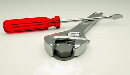 Adjustable spanner tightening a bolt