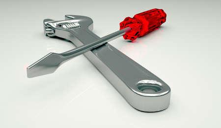 Adjustable spanner and screwdriver