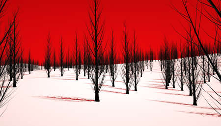 An eerie forest with a blood red sky and dead trees