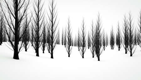 Bleak winter scene with black trees contrasting with the white snow Stock Photo