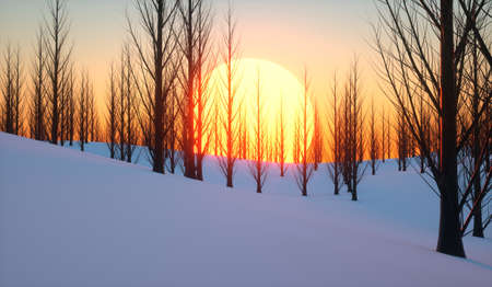 Sun setting in a snowy forest in winter