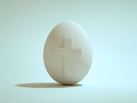 White easter egg with the cross on the front