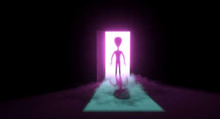 Alien in the doorway Stock Photo