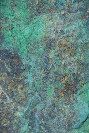 verdigris: Blue patina granite rock Stock Photo
