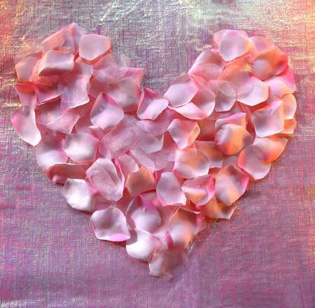 luminous: Pink rose pedal Heart on luminous background