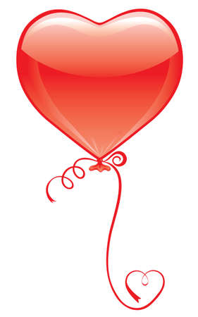 Red Heart Balloon on white with heart ribbon Vector
