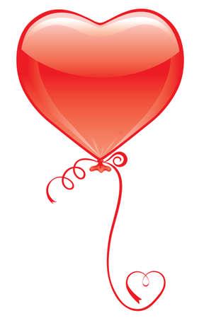 palloncino cuore: Red Heart Balloon su bianco con cuore della barra multifunzione  Vettoriali