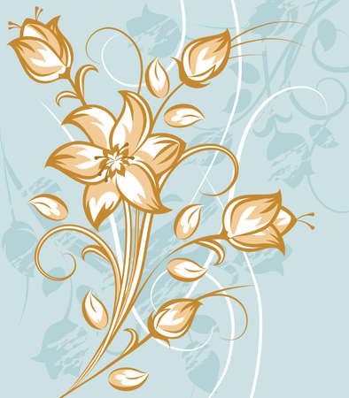 Tan and White Flower Bouquet on blue background Illustration
