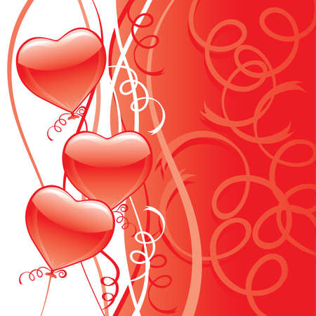 Red Heart Party Balloons Vector