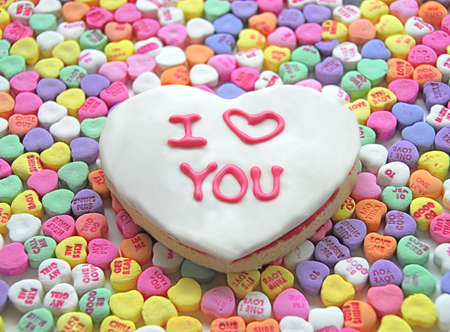 cookie on white: White Heart Cookie with Pink I Love YOU
