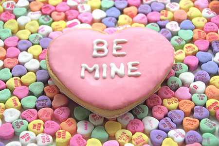 be mine: Be Mine Cookie in heart shape with candy background