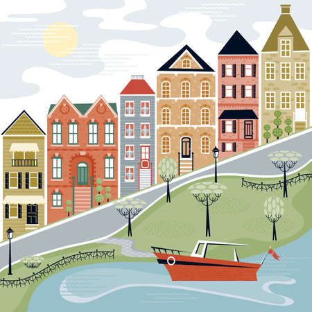 Quaint Village Street with Water Scene Vector