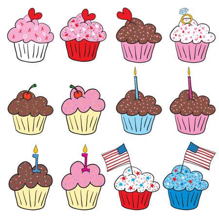 Cute cupcakes en muchos estilos Vectores
