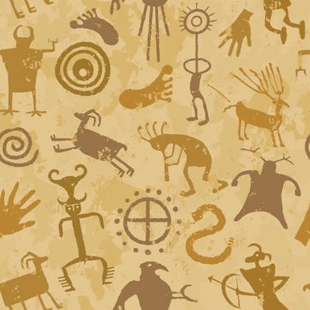 Cave Painting with animals and hunters Vector
