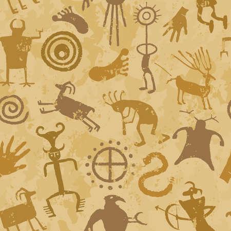 pintura rupestre: Pintura cueva con los animales y los cazadores