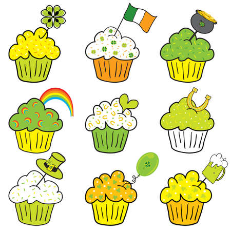 Go Green, St. Patricks day Cupcakes Vector