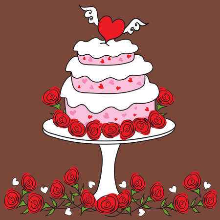 Valentine Heart Cake with three layers, surrounding by red roses on a chocolate colored background Vector
