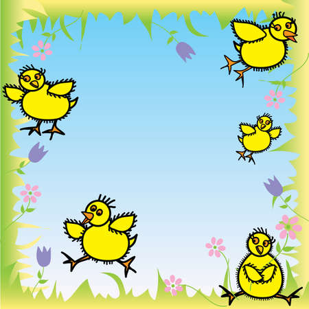 Happy Baby Chicks ready for Easter on blue background with grass frame boarder and flowers Vector