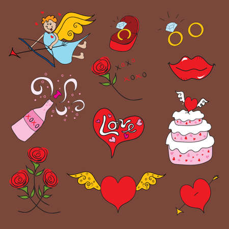 Doodle valentine icons in doodle style on chocolate background Vector