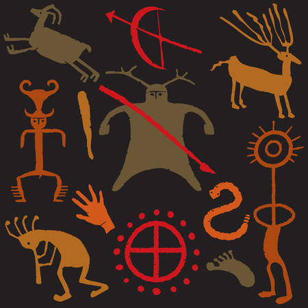Cave Painting with animals and hunters and weapons Vector
