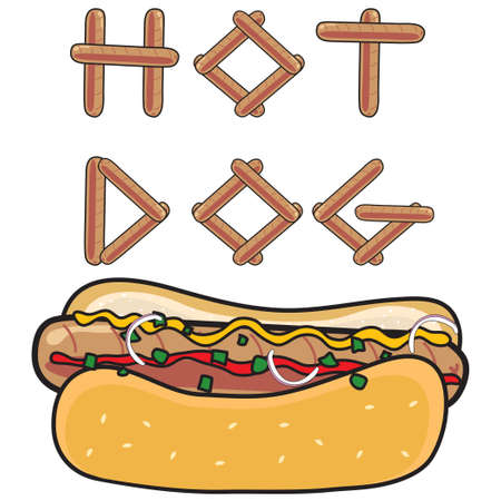 Grilled Hot dog with bun and topping and the word Hot Dog made out of hot dogs Illustration