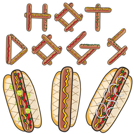 3 yummy hotdogs and hot dog sign made out of hot dogs