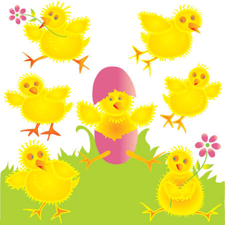 Fun baby chicks on the grass and in the air Illustration