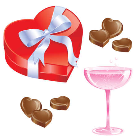 Pink Champagne and chocolates with red heart shaped candy box with ribbon bow