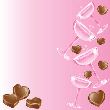 Pink Champagne and Chocolate on a pretty pink background Vector