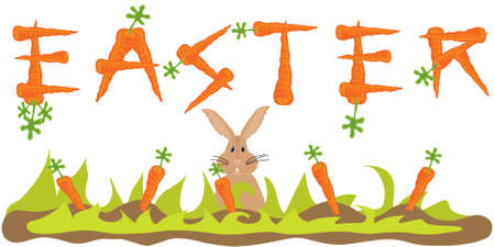 Easter Carrot Banner with Easter Bunny Vector