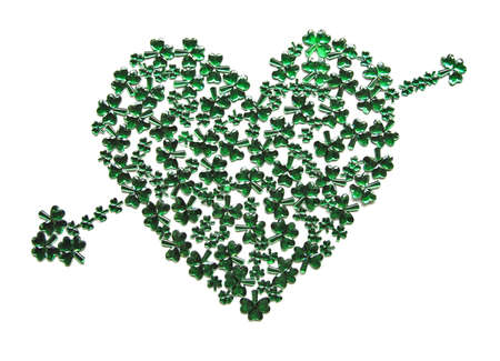 St Patricks Day Heart with arrow on white background photo