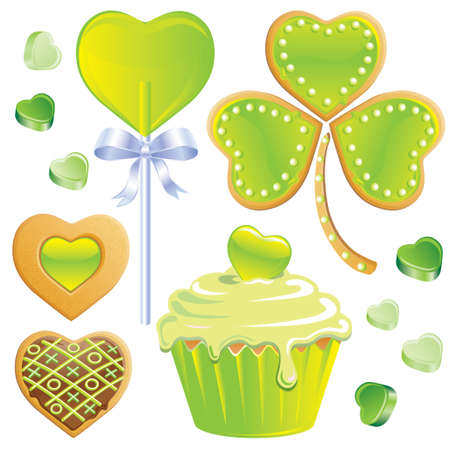 Shamrock cookies, green hearts, lollipop and cupcake and candy hearts