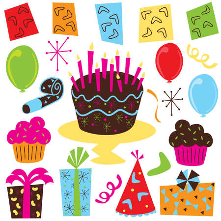 party favors: Retro Birthday Party clipart with birthday cake, cupcakes, balloons, streamers, party favors, presents and 1950s symbols