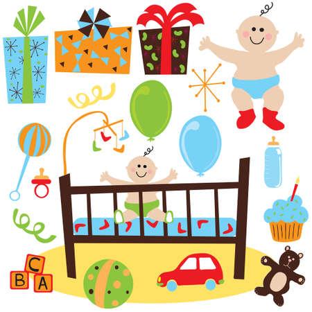 Beb� reci�n nacido fiesta de cumplea�os con regalos, juguetes, y el beb� y el tema de cumplea�os Cupcake