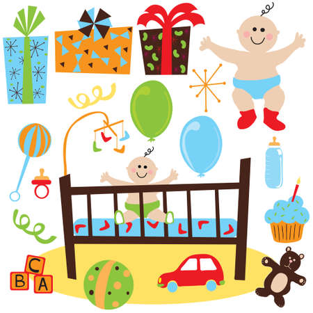 Newborn baby birthday party with gifts, toys, and baby item and birthday cupcake Vettoriali