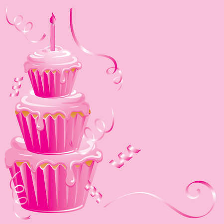 リボンの吹流しとピンクの背景にピンクのカップケーキの誕生日パーティー