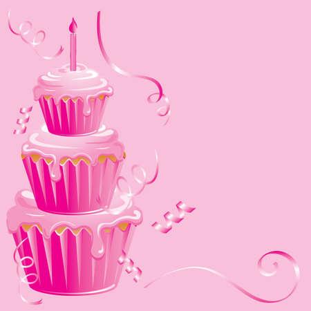 Roze cupcake verjaardagsfeest op roze achtergrond met lint streamers