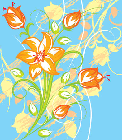 Bright Tiger lily with blue background in retro syle Vector
