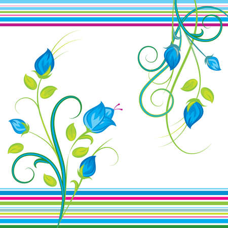 blue floral bouquets on a white background Vector