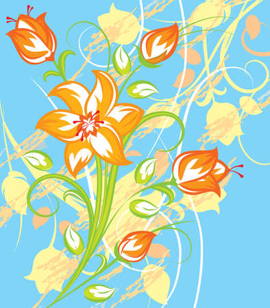 lily vector: Bright Tiger lily with blue background in retro style Illustration