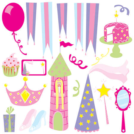 feminine: Everything you need for a little girls pink princess party Illustration