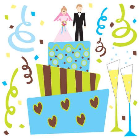 Retro pastel de boda y el champán con la novia y el novio Foto de archivo - 4457946