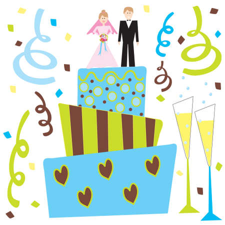 Retro Wedding cake and champagne with bride and groom Vector