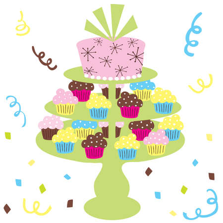 Cupcake wedding cake perfect for birthdays, showers and weddings Vector