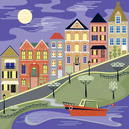 Full moon overlooks an evening street with homes and a water scene Stock Illustratie