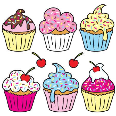 Bestrooi cakejes in leuke kleuren Stock Illustratie