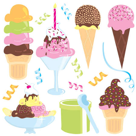 ice cream sundae, banana split, cones, streamers and confetti Vector