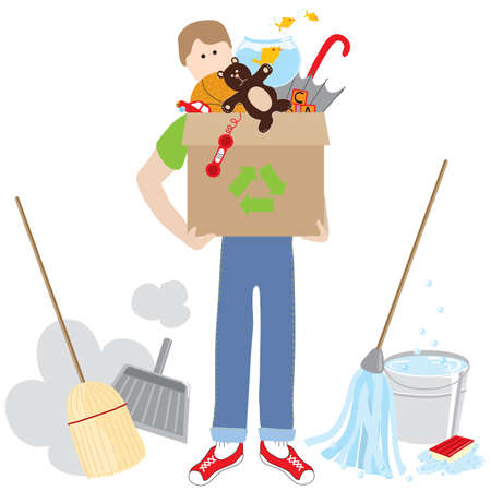 attic: Man holding a recycling box full of items surrounded by cleaning supplies Illustration